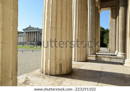 "Classical pillars at ""Koenigsplatz""  square in Munich,Germany.  - stock photo"