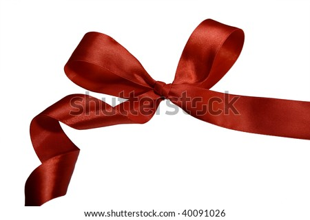 Classical red bow with curls for a gift - stock photo