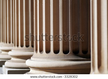 Classical Sandstone Columns In A Row, Pillars, Architecture - stock photo