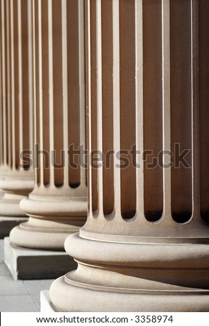 Classical Sandstone Columns In A Row, Pillars, Architecture