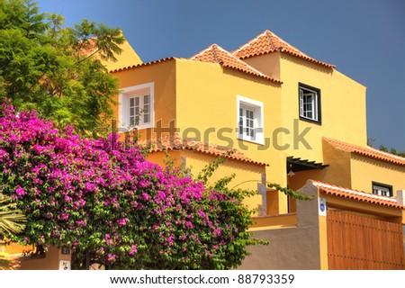 Classical spanish villa among flowers, not far from ocean. Tenerife, Spain. - stock photo
