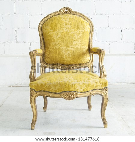classical style Armchair sofa couch in vintage room - Classical Style Armchair Sofa Couch Vintage Stock Photo (100% Legal