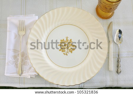Classical Table Setting with Vintage China - stock photo