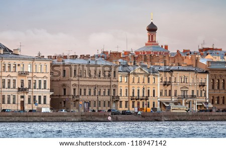Classical view of city ??skyline on Neva river with  Church dome of Nicholas Palace in St.Petersburg, Russia - stock photo