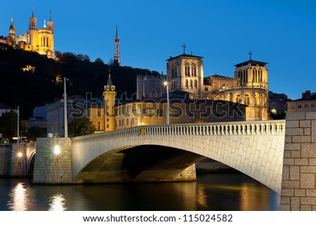 Classical view of Lyon over the Saone river at night. GPS information is in the file - stock photo