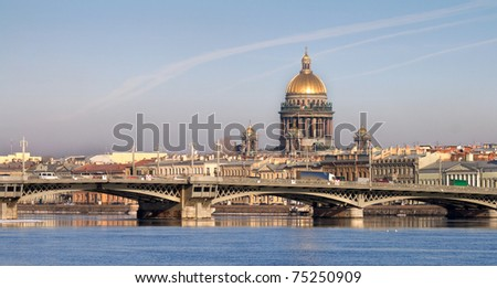 Classical view of Neva river with Isaakievsky Cathedral in Saint-Petersburg, Russia - stock photo
