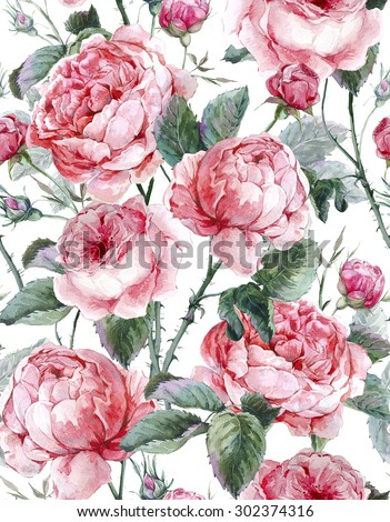 Classical vintage floral seamless pattern, watercolor bouquet of English roses, beautiful watercolor illustration - stock photo