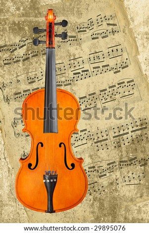 Classical violin against a grunge background with sheet music (the music is over 200 years old, by Bach). - stock photo