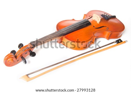 Classical violin and bow isolated on white background - stock photo