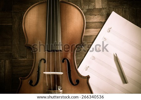 classical Violin & pencil on blank Music sheet for music composer concept background - stock photo