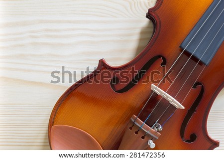 classical violin, viola on wood for music background - stock photo