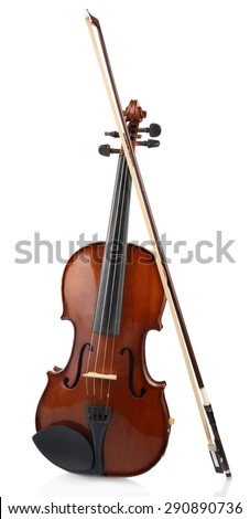 Classical violin with bow isolated on white - stock photo