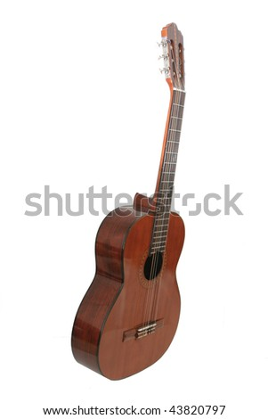 Classical Wood Guitar on white background - stock photo