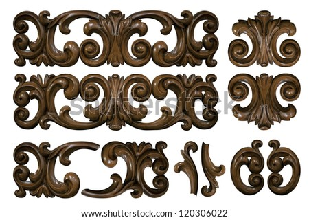 classical wooden decor elements isolated - stock photo