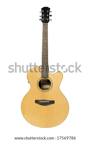 Classical yellow acoustic guitar isolated on white - stock photo