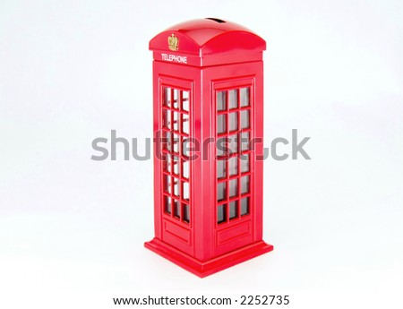 Classics London red telephone box isolated on white - stock photo