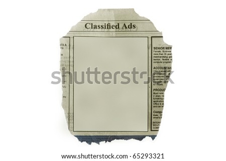 Classified ads isolated in white background - with blank space for your text. - stock photo