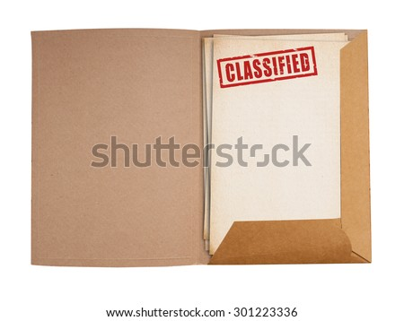 Classified folder isolated with clipping path.