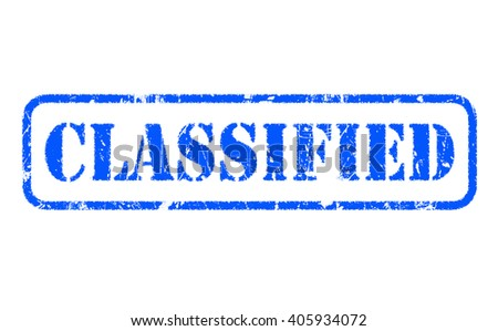CLASSIFIED rubber blue stamp text on white - stock photo