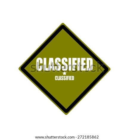 Classified white stamp text on green background - stock photo