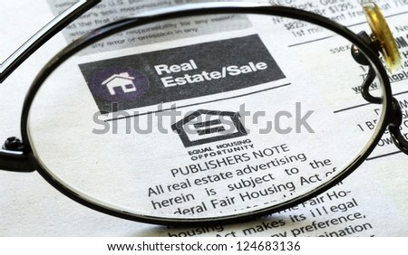 Classifieds advertisement concept of real estate sales and rental
