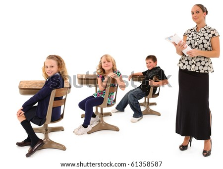 Classroom theme over white background with students and teacher. - stock photo