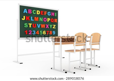 Classroom with blackboard and desk on a white background - stock photo