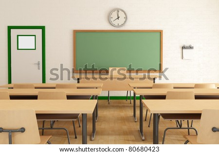 classroom without student with wooden furniture and green blackboard on brick-wall-rendering - stock photo