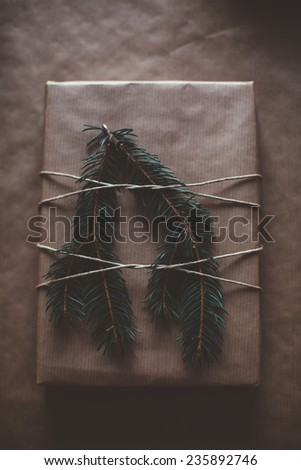 Classy Christams gifts box present on brown paper - stock photo