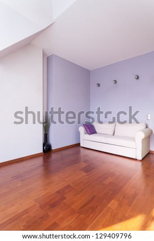 Classy house - White and purple living room interior - stock photo