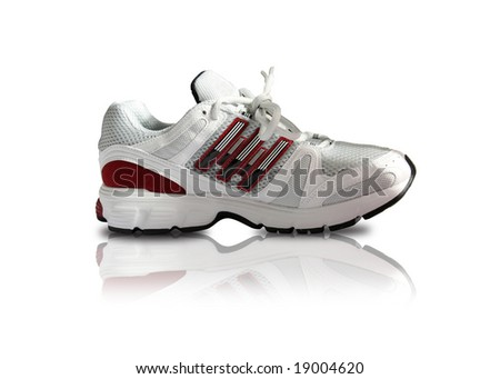 classy sports shoe in white and red - stock photo
