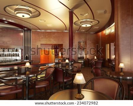 Classy upscale restaurant interior with bar.  - stock photo