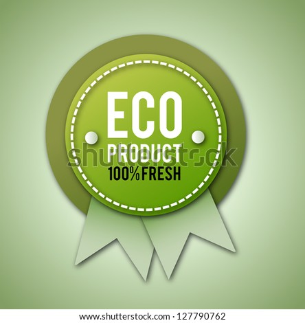 Classy, vintage eco bagde on bright, green background. - stock photo