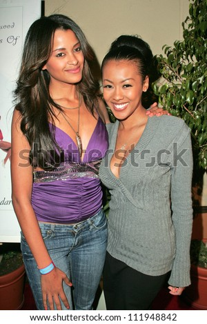 Claudia Jordan and Denyce Lawton at the Top X Calendar Release Pre-Oscar Party hosted by Denyce Lawton and Wesley Jonathan, Loggia, Hollywood, CA 02-23-07