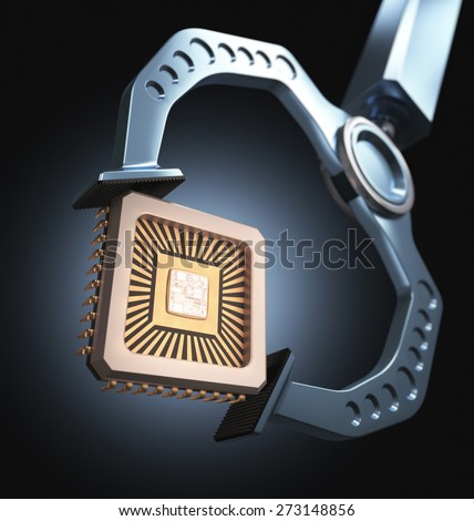 Claw robotics holding a microchip. Concept of technology. - stock photo