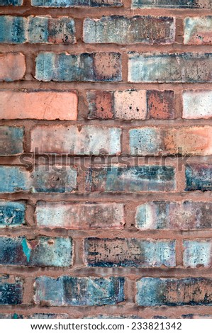 Clay brick wall weathered texture vertical  - stock photo