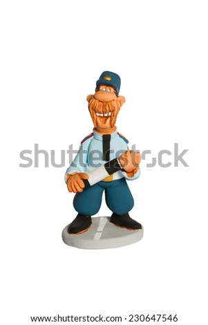 Clay figurine fun filled mustachioed cop with a stick on the road isolated on white background - stock photo