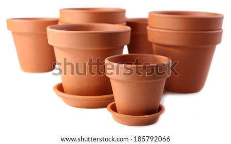 Clay flower pots, isolated on white  - stock photo