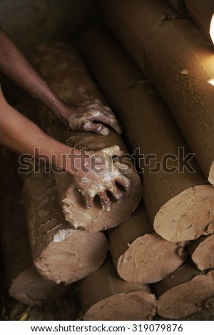 Clay is a material used to make pottery of Thailand.