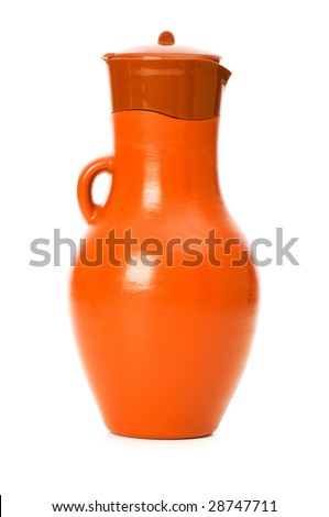 Clay jar isolated on the white background - stock photo