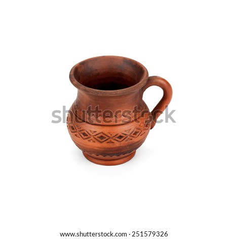 clay jug handmade isolated on white background - stock photo