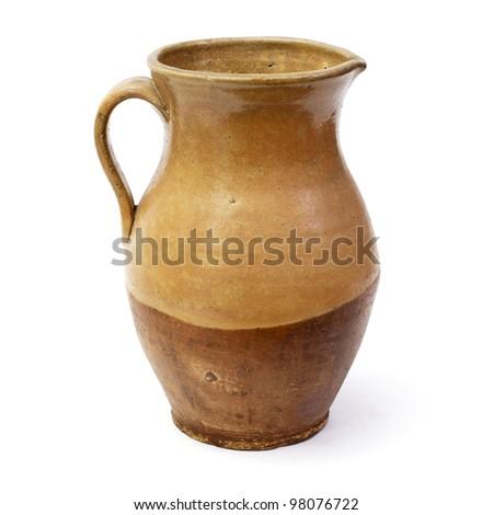 Clay jug, old ceramic vase isolated on white background - stock photo