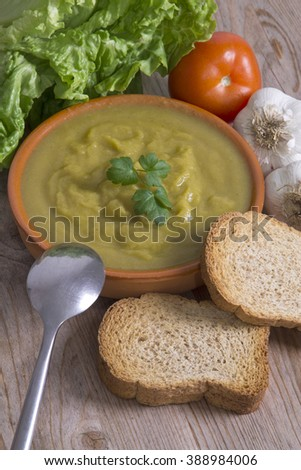 clay plate with soup and vegetable soup - stock photo