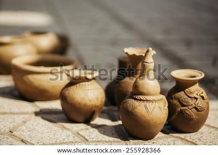 clay pot and vase handmade traditional Asia Vietnam - stock photo