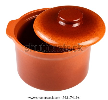 Clay pot for cooking. isolated - stock photo