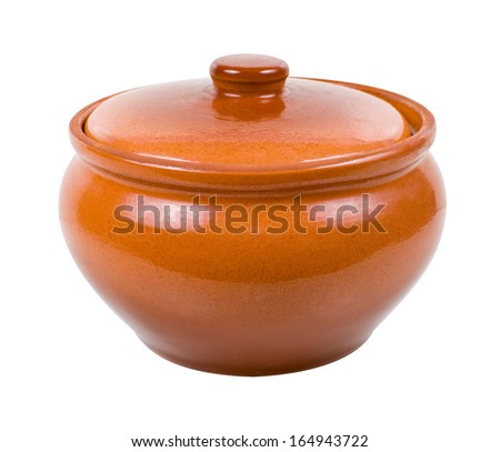 Clay pot for cooking isolated on white background  - stock photo