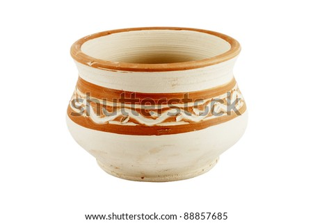 Clay Pot isolated on the white background - stock photo