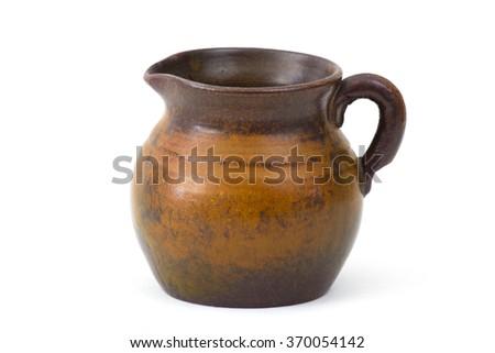 Clay pot, old ceramic vase - stock photo