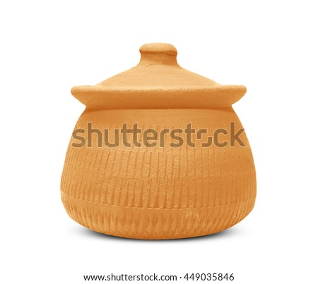 Clay pot with lid isolated on white background - stock photo