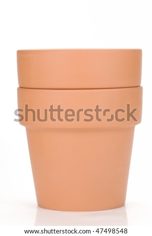 Clay pots isolated on the white background